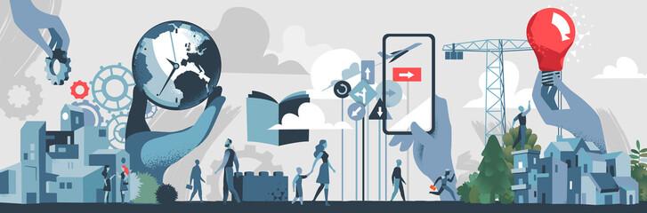 Costruzione, Innovazione e Futuro Sostenibile - illustrazione vettoriale