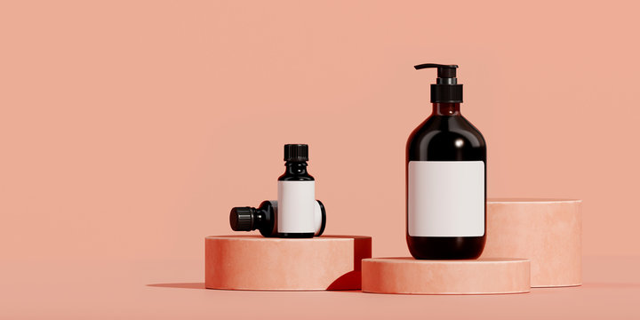 Minimal background for branding and packaging presentation. Cosmetic bottle on coral podium with coral background. 3d rendering illustration.