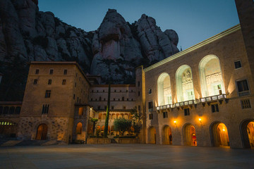 Printed kitchen splashbacks Athens Splendid temple of Montserrat in the blue hour of the day