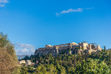 View of the Acropolis on a rocky outcrop above the city of Athens - Greece