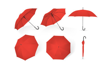 red umbrellas from different sides isolated on white background