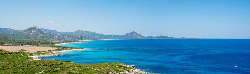 Sardinia Panoramic Landscape. View from Mountain Monte Turno on Costa Rei Beaches.
