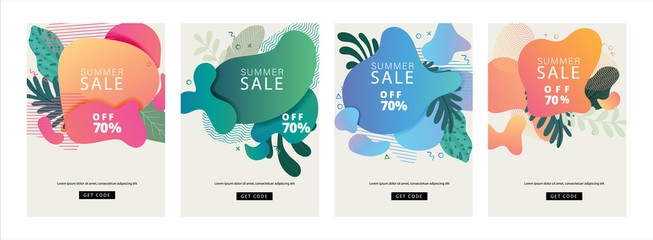 Fotobehang - Summer sale cover design, Sale banner template with liquid shape, Organic shape, Memphis design element, Tropical leaf, flower, floral decoration, minimal trendy style for holiday and sale season.