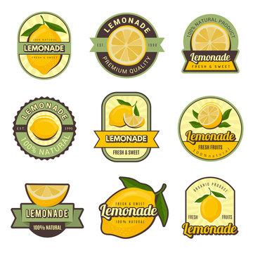 Lemon labels. Retro badges for cold juice drinks lemonade stamps for restaurant menu vector decoration set. Illustration of lemonade sweet set badge, marketing fresh label juice