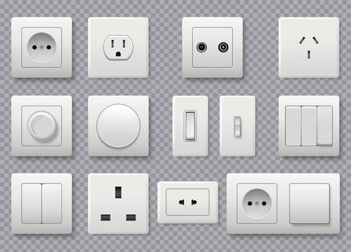 Wall switch. Power electrical socket different modern round switches vector realistic collection. Power electricity, outlet european and american illustration