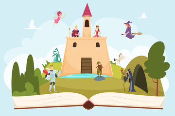Open fairy tale book. Fantasy background with funny mascot princess knight wizard witch vector cartoon landscape on pages. Princess and medieval fairytale, knight and tower illustration