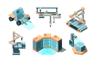 Smart industry isometric. Machine future robotic technologies computing 3d remote production vector pictures set. Illustration smart machine, industry manufacturing, automation machinery