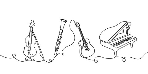 Continuous one line drawing. Classical music instruments. Vector illustration set of violin, clarinet, acoustic guitar, and piano. Wall mural