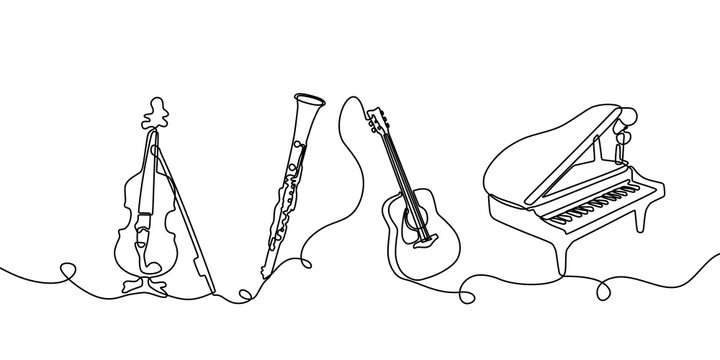 Continuous one line drawing. Classical music instruments. Vector illustration set of violin, clarinet, acoustic guitar, and piano.