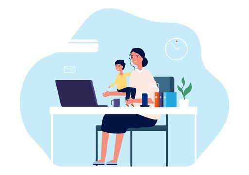 Mother working. Young woman with baby sitting at desk and computer. Freelance worker, motherhood or parenthood and career vector illustration. Mother work at computer laptop with baby