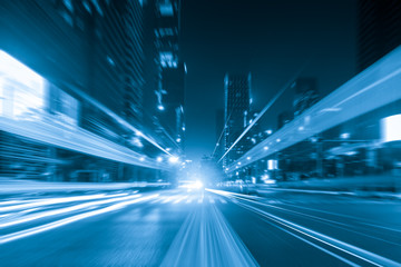 Fotomurales - abstract image of blur motion of cars on the city road at night