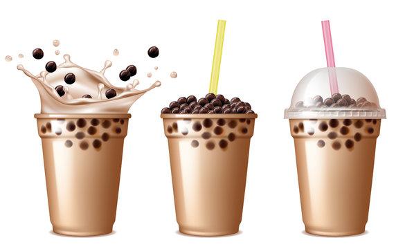Bubble tea drink. Cold tea with milk delicious beverage drinking products tapioca splashing liquid food vector realistic. Tea tasty takeaway, tapioca splash bubble illustration