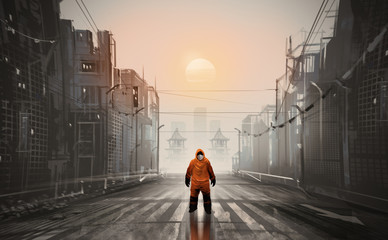 Digital illustration painting design style a man wearing Hazmat Suit, mask and standing in abandonded town, against sunset. Fotomurales