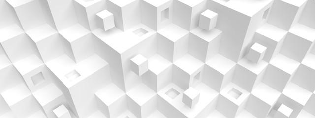 Fotobehang - Modern Architecture Background. White Futuristic Building Construction