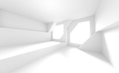 Fotobehang - Abstract Interior Background. White Room with Windows