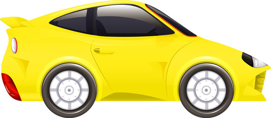 Racing car in yellow color on isolated background