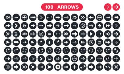 Wall Mural - Arrows set of 100 black icons. Arrow icon. Arrow vector collection. Arrow. Cursor. Modern simple arrows. Vector illustration.