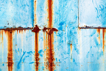 Wall Mural - Grunge rusty metal surface painted in blue