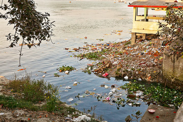Water pollution in Indian river Papier Peint