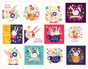 Fototapete - Big collection of vector Easter holiday cards with cute Easter bunnies, flowers, leaves, birds.