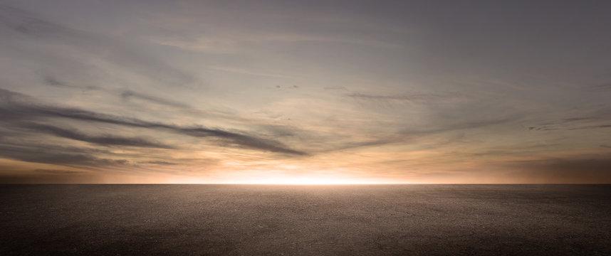Dark Floor Background Beautiful Clouds Sunset Night Sky Horizon Scene