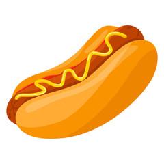 Hot dog. Unhealthy fastfood with ketchup, bun and sausage.