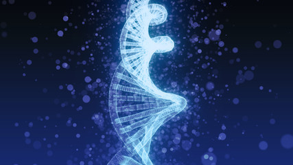 DNA double helix - blue 3D generated illustration with particles, low depth of field
