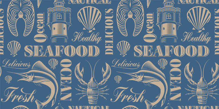Vintage seamless background for seafood