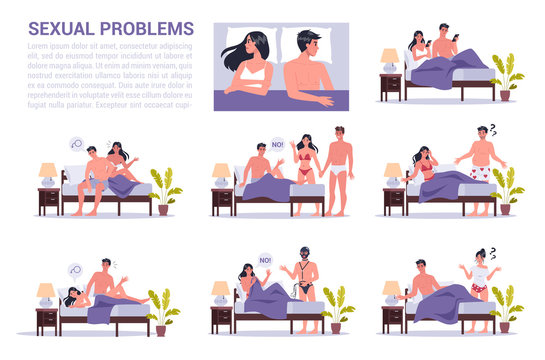 Pair of man and woman lying turned away in bed. Concept of sexual