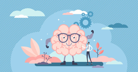 Fit brain cartoon character, flat tiny person vector illustration concept