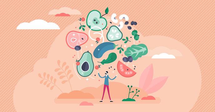 Flexitarian food culture movement, flat tiny person vector illustration