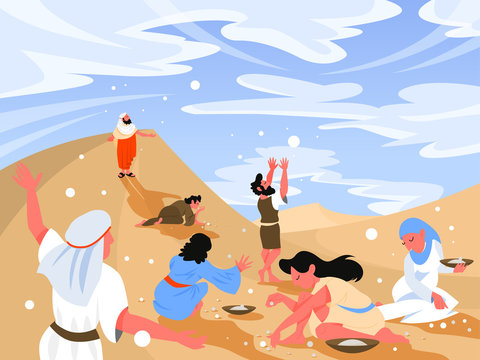 Bible narratives about Manna. Christian bible character.
