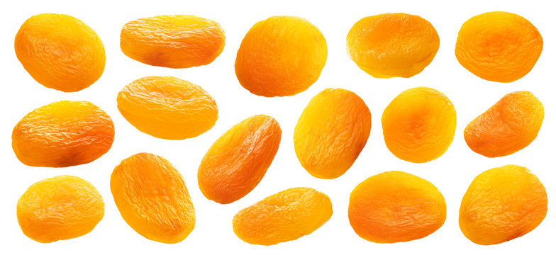 Collection of dried apricots isolated on white background