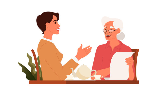 Old woman write a testament. Senior draw a will.