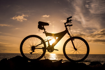 Picture of a Mountain Bike Silhouette at Sunset