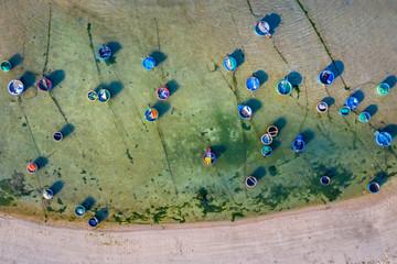 Aerial view of beach at My Hiep, Phan Rang, Ninh Thuan, Vietnam.