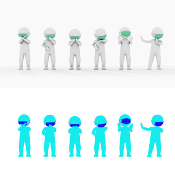 Mask stickman full body 3D rendering