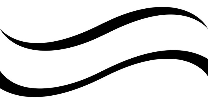 Curved calligraphic line strip, vector, ribbon like road element of calligraphy gracefully curved line