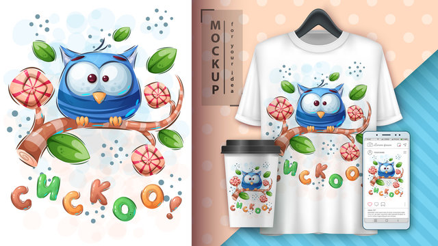 Cute owl poster and merchandising