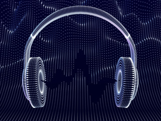 3D headphones with sound waves on dark background. Concept of electronic music listening and digital audio. Abstract visualization of digital sound waves and modern art. Vector illustration.