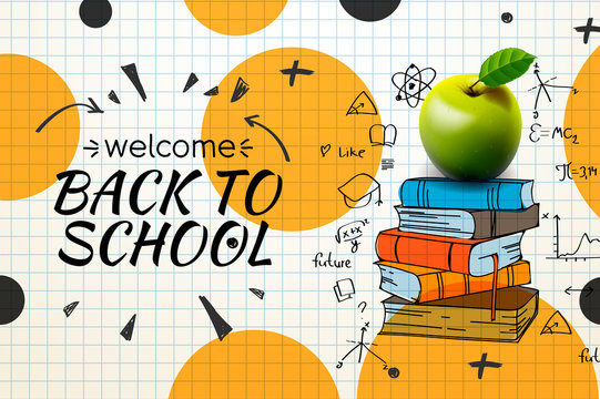 Welcome Back to school web banner, apple and doodle on checkered paper background, vector illustration.