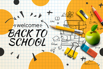 Welcome Back to school web banner, doodle on checkered paper background, vector illustration. - fototapety na wymiar