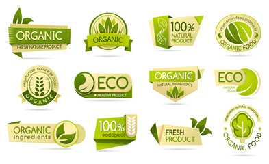 Organic food labels, eco and bio natural products Papier Peint