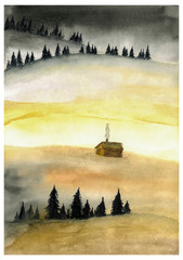 Foto auf Leinwand Gelb Schwefelsäure Landscape with spruce trees and lonely hut. Watercolor illustration.