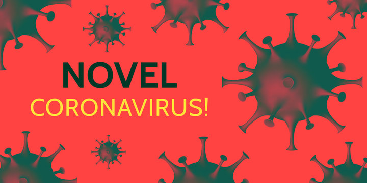 Coronavirus Danger Warning Poster. Alert banner about likelihood of contracting a coronavirus infection. Abstract coronavirus model on awesome red environment. Health Care Concept. Vector illustration