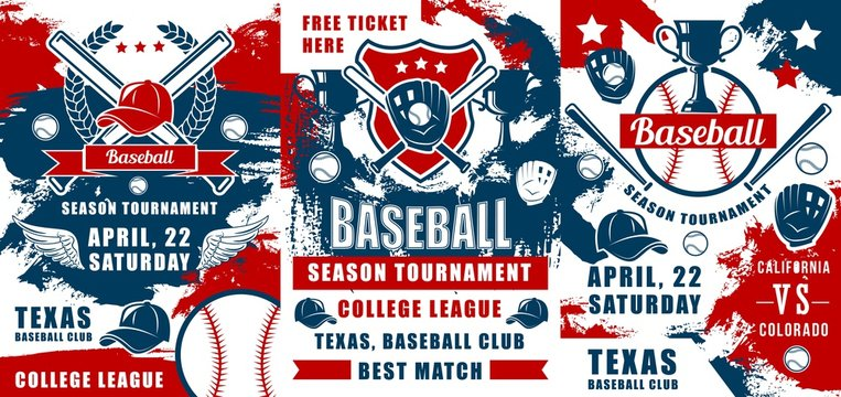 Baseball sport tournament trophy cups, balls and bats, catcher gloves and pitcher uniform caps vector banners. College league match invitations, sporting competition themes