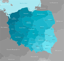 Obraz Vector modern illustration. Simplified geographical  map of Poland (in blue colors) and neighboring countries (Germany, Czech Republic, Ukraine and etc. in grey). Names of Polish cities and provinces. - fototapety do salonu