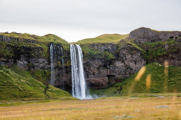 Photo sur Aluminium Vert Seljalandsfoss Waterfall in Iceland. It is located near ring road of South Iceland. Majestic and picturesque, it is one of the most photographed breathtaking place of Iceland