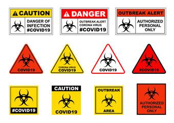 Corona virus signage vector isolated on white background, COVID19 warning signage, Outbreak alert signage