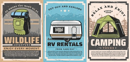 Mountain outdoor adventures and forest camping retro posters of travel vector design. Tourist camp tent, backpack and rv trailer, mountains, forest trees and desert landscape, tourism themes Wall mural